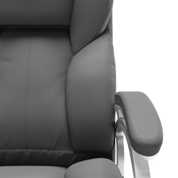 CoreLiving 22.50-in x 21.00-in Steel Grey Leatherette Executive Office Chair