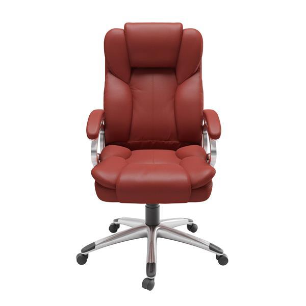 Chaise de bureau exécutive en similicuir, rouge brique