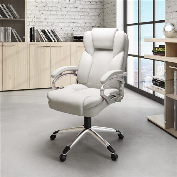 CoreLiving 27.50-in x 21.00-in White Leatherette Executive Office Chair