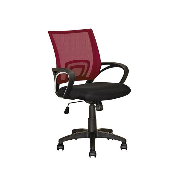 Chaise de bureau avec dossier en mailles, rouge bordeaux