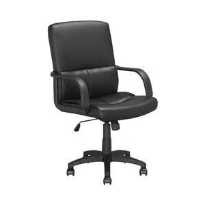 Chaise de bureau en similicuir, noir