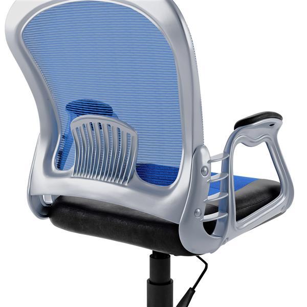 Chaise de bureau en similicuir noir et tissu de mailles bleu