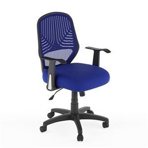 Chaise de bureau avec dossier en mailles, bleu