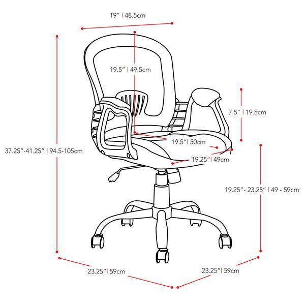 Chaise de bureau en similicuir noir et tissu de mailles gris