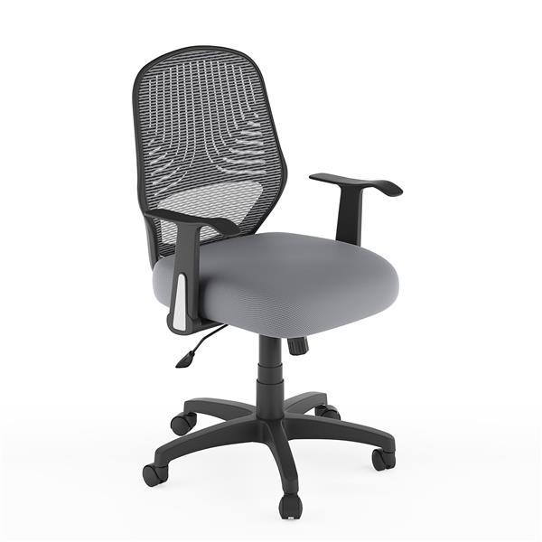 Chaise de bureau avec dossier en mailles, gris