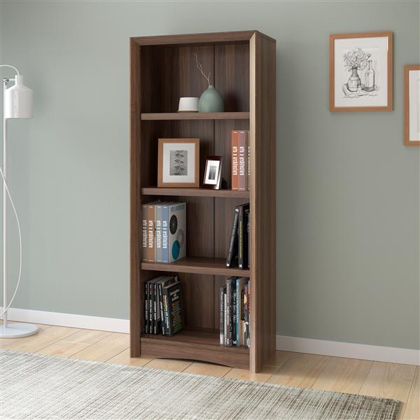 CorLiving Quadra Tall Bookcase 24 x 59-in Faux Woodgrain Finish Walnut