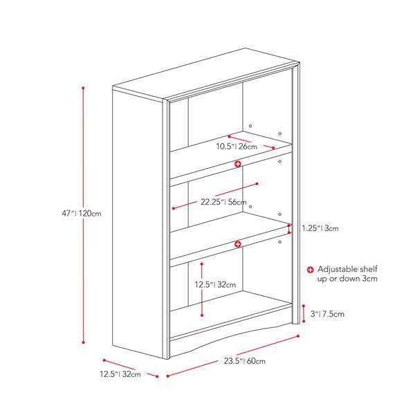 CorLiving Quadra Tall Bookcase 24 x 47-in Faux Woodgrain Finish White