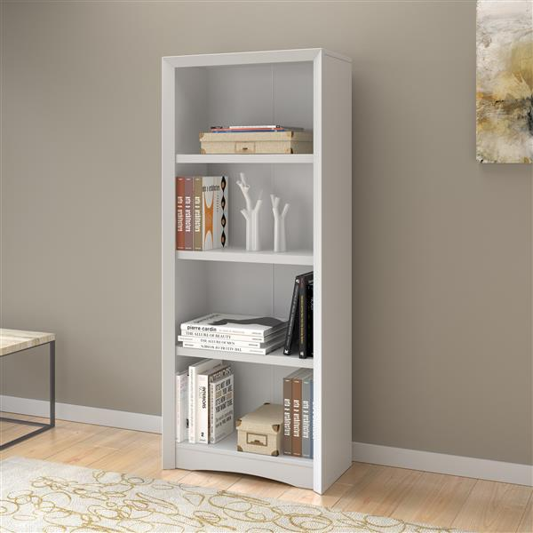 CorLiving Quadra Tall Bookcase 24 x 59-in Faux Woodgrain Finish White