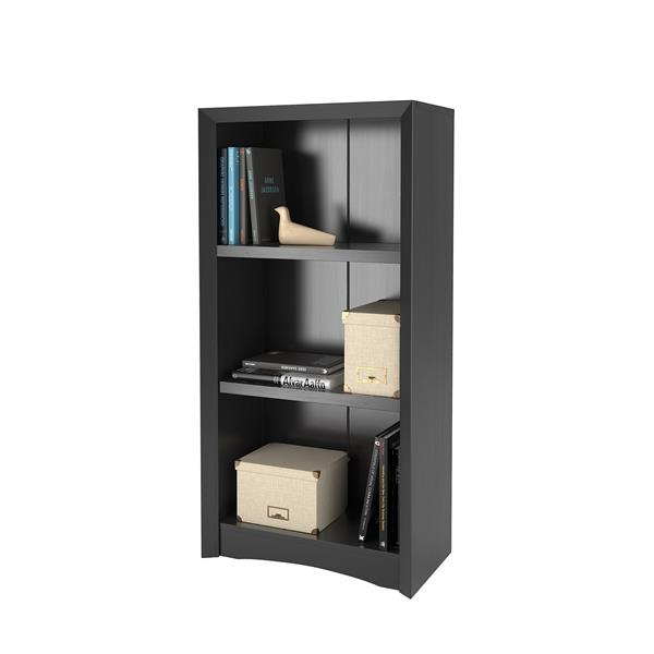 CorLiving Quadra Tall Bookcase 24 x 47-in Faux Woodgrain Finish - Black