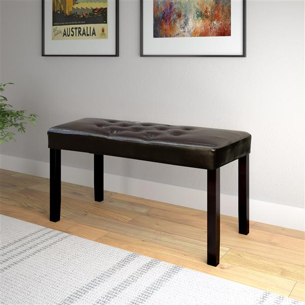 CorLiving Fresno 19-In x 35-In x 15-In 12-Panel Brown Leatherette Indoor Bench