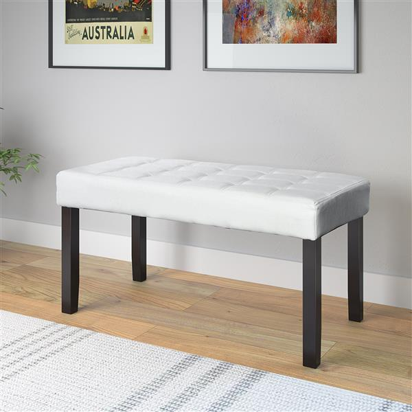 CorLiving California 19-In x 35-In x 15-In White Leatherette 24-Panel Indoor Bench