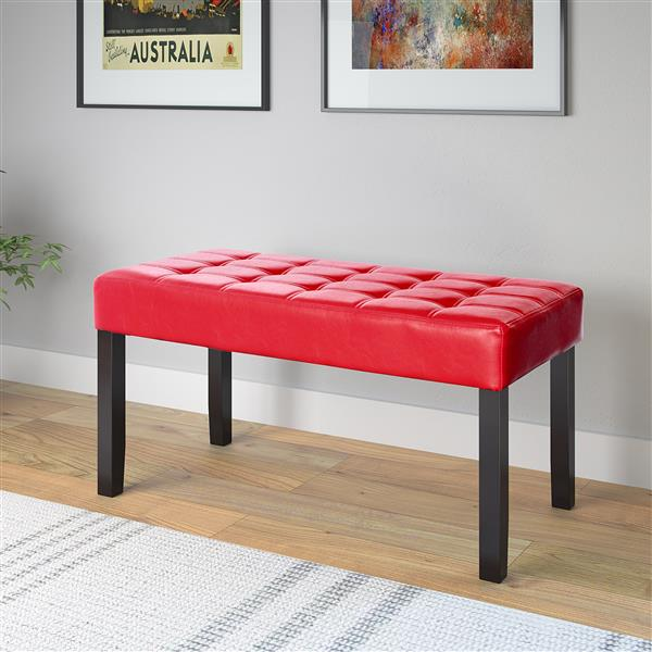 Corliving California Bench in Red Leatherette - 35-in x 15-in x 19-in