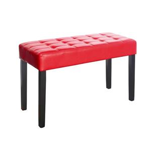 CorLiving California 14-Lbs 19-In x 35-In x 15-In Red Leatherette 24-Panel Indoor Bench