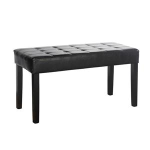 CorLiving California 14-Lbs 19-In x 35-In x 15-In Black Leatherette 24-Panel Indoor Bench