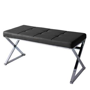 CorLiving Huntington 18-in x 39-in x 18-in Black/Chrome Leatherette Indoor Bench
