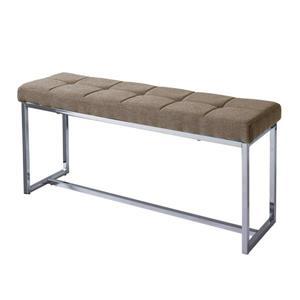 Huntington Modern Brown Fabric Bench with Chrome Base