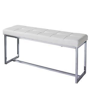 Huntington Modern White Leatherette Bench with Chrome Base
