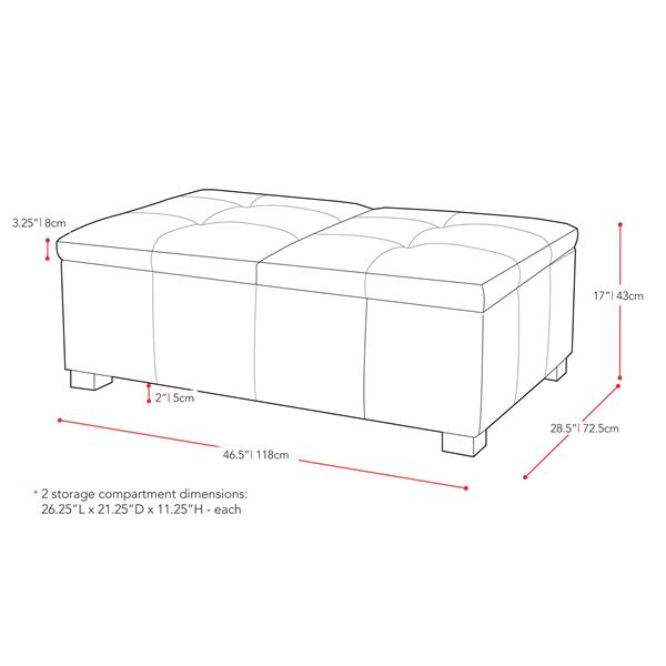 CorLiving Antonio 47-in x 29-in x 17-in Black Bonded Leather Double Storage Ottoman