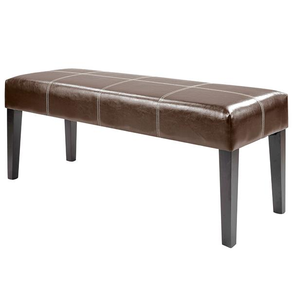 CorLiving Antonio 47-in x 16-in x 19-in Dark Brown Bonded Leather Bench
