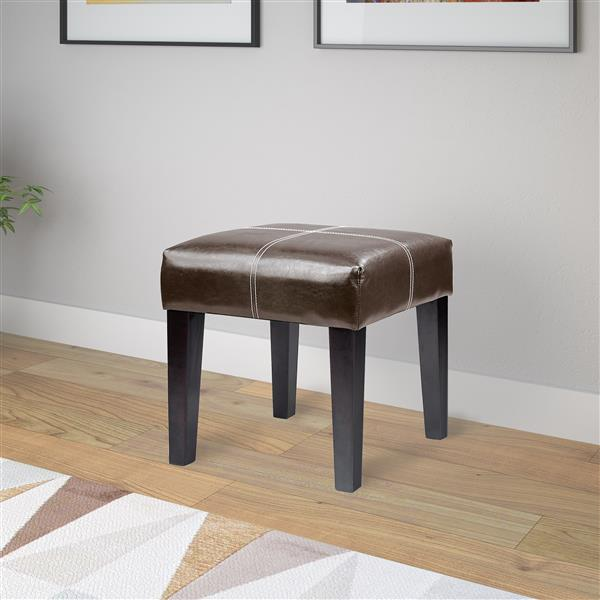 CorLiving Antonio 16-in x 16-in x 19-in Dark Brown Bonded Leather Square Bench