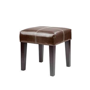 CorLiving Antonio 16-in x 16-in x 19-in Dark Brown Bonded Leather Square Bench