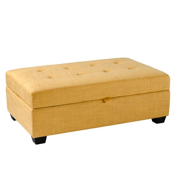 CorLiving Antonio 46-in x 28-in x 18-in Yellow Fabric Storage Ottoman