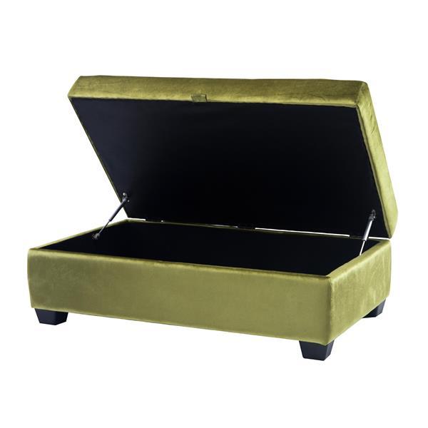 CorLiving Antonio 46-in x 28-in x 18-in Green Velvet Storage Ottoman
