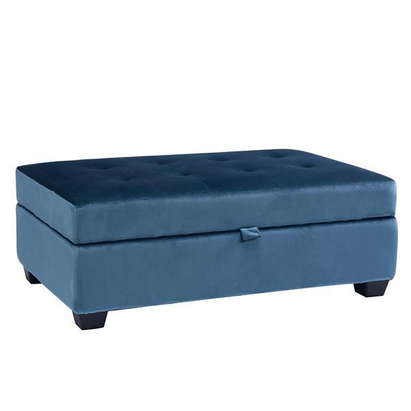 CorLiving Antonio 46-in x 28-in x 18-in Blue Velvet Storage Ottoman