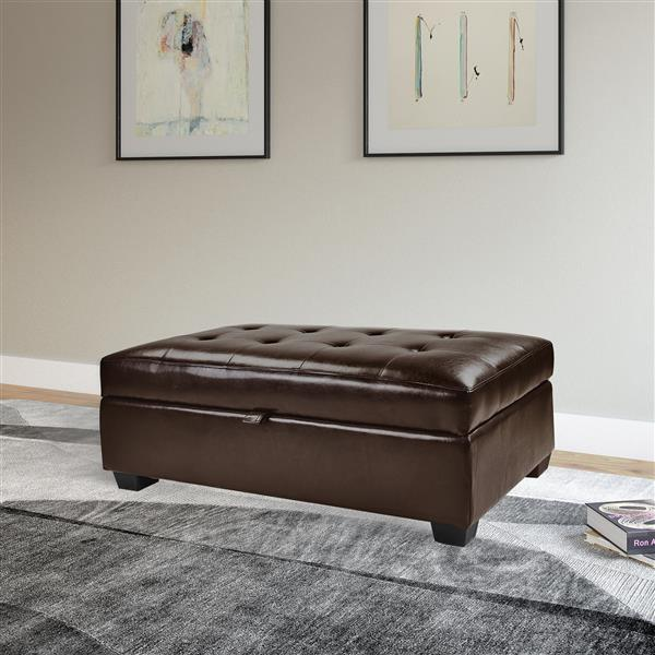 CorLiving Antonio 46-in x 28-in x 18-in Brown Bonded Leather Storage Ottoman