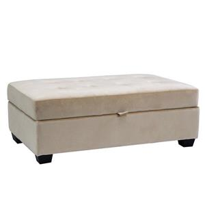 CorLiving Antonio 46-in x 28-in x 18-in Cream Velvet Storage Ottoman