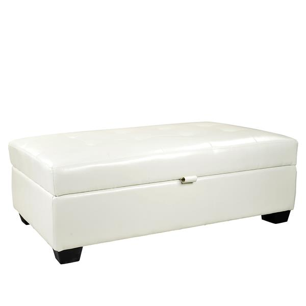 CorLiving Antonio 46-in x 28-in x 18-in White Bonded Leather Storage Ottoman