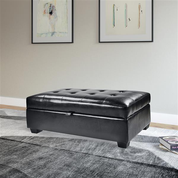 CorLiving Antonio 46-in x 28-in x 18-in Black Bonded Leather Storage Ottoman
