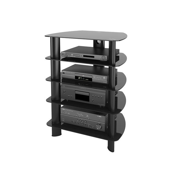 CorLiving Laguna Satin Black Stand with Glass Component
