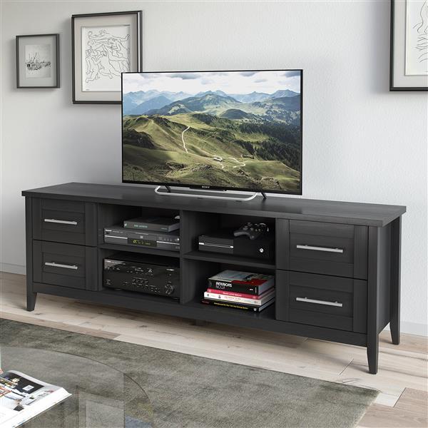 Meuble de télé Jackson extra-large, fini de bois noir