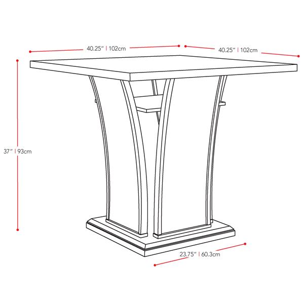 CorLiving Bistro Cappuccino 36-in Counter in Height Dining Table With Cabinet