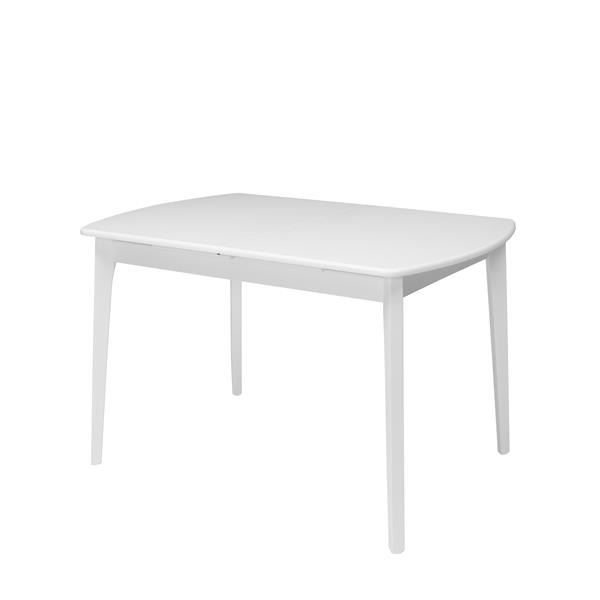Table oblongue extensible Dillon avec rallonge, blanc