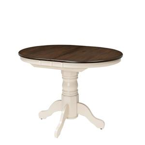 CorLiving Dillon Extendable Dark Brown and Cream Oval Dining Table with Butterfly Leaf
