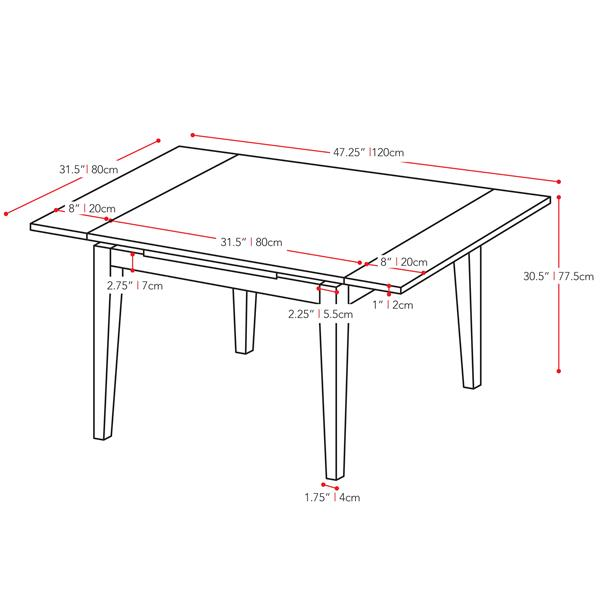 CorLiving Dillon Cappuccino Stained Extendable Dining Table