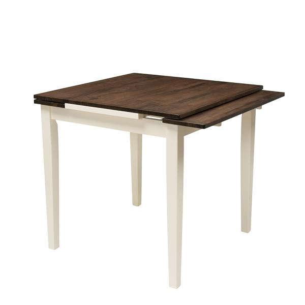 CorLiving Dillon Dark Brown and Cream Extendable Dining Table
