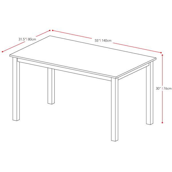 CorLiving Atwood 31-in x 55-in Cappuccino Stained Dining Table