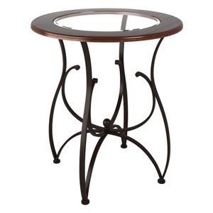 Table à hauteur de bar Jericho avec verre et bois teint- 42
