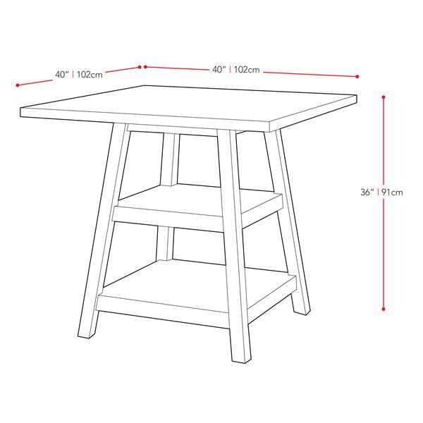 CorLiving Bistro Cappuccino 36-in Counter Height Dining Table