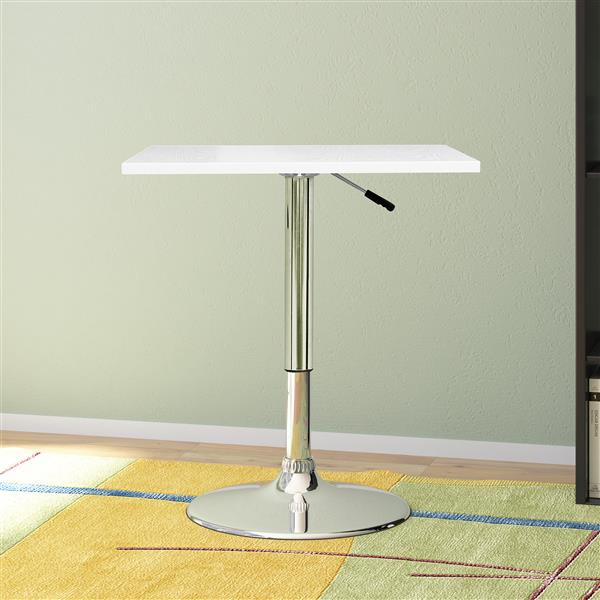 CorLiving White Adjustable Height Swivel Square Wooden Table