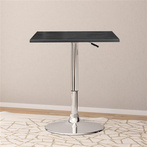 CorLiving Black Adjustable Height Swivel Square Wooden Table