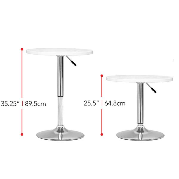 CorLiving White Adjustable Height Round Wooden Table