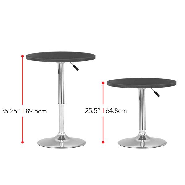 CorLiving Black Adjustable Height Round Wooden Table