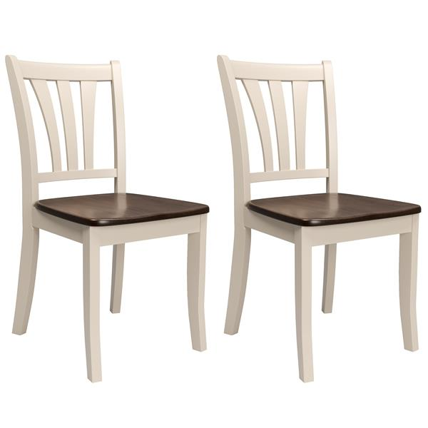 CorLiving Brown and Cream 17-in X 36-in Dining Chairs Set of 2