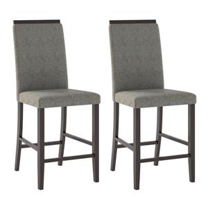 CorLiving Pewte Gray 18-in X 39-in Dining Chairs Set of 2