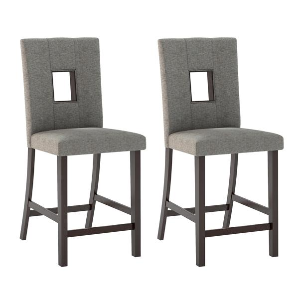 CorLiving Gray 18-in X 43-in Dining Chairs Set of 2