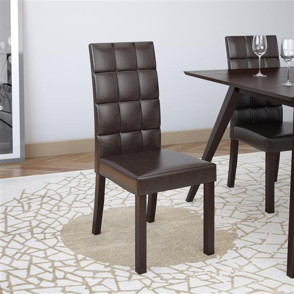 CorLiving Brown 18-in X 39-in Faux Leather Dining Chairs Set of 2